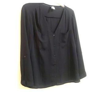 Black button down v neck cut blouse